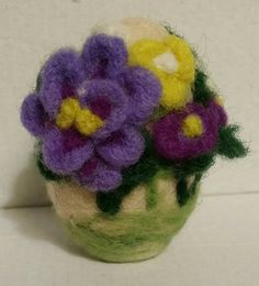 OOAK Needle Felted 3D 2.5 inches Tall Wool Egg Spring Flowers