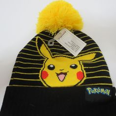 da6baf30ed6 New Nintedo Pokemon Pikachu Winter HAT Yellow Beanie Halloween Cosplay Cap   BioworldOfficiallyLicensed  Beanie Pokemon