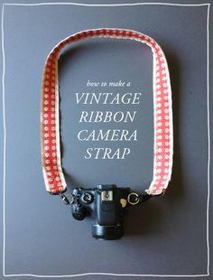 DIY vintage ribbon camera strap