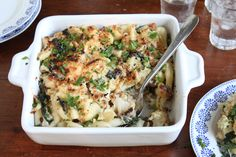Recipe for pasta bake with roasted cauliflower, spinach, and caramelized onions