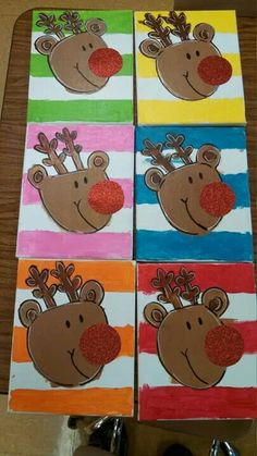 Reindeer painting Christmas Art Projects, Christmas Arts And Crafts, Winter Art Projects, Christmas Canvas, Preschool Christmas, Noel Christmas, Christmas Paintings, Christmas Activities, Xmas Crafts