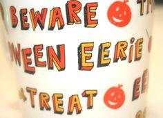 Halloween Secret Spider Starbucks Mug Black Orange White Boo Coffee Tea 2007 #Starbucks
