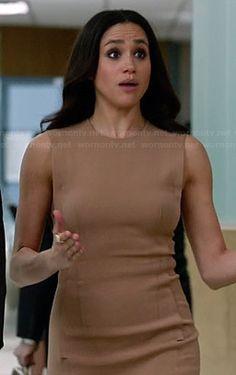 Rachel's nude sleeveless dress on Suits. Outfit Details: https://wornontv.net/33819/ #Suits