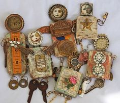 New Doll Family As promised, I finished up the new assemblage dolls and have them listed now in my etsy shop. This one is called Bean Town Sweetie. A vintage VFW medal adorns her front. I use a distressed wood block base for. Found Object Art, Found Art, Art Altéré, Do It Yourself Jewelry, Marionette, Art Antique, Art Textile, Paperclay, New Dolls