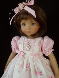 "**Pink Sugar** Dress, Apron, Outfit for 13"" Effner Little Darling Dolls"