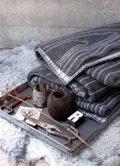 """""""Skog"""" (""""forest"""") - a woolen plaid/blanket well suited for colder days and snuggling by the fireplace. Design by Andersen & Voll for Røros Tweed. Gris Taupe, Beige, Tweed, Scandinavian Interior Design, Scandinavian Home, Nordic Design, Large Tapestries, Design Bestseller, Gray Matters"""
