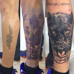 Cover Up tattoo on the leg, black panther portrait. Black and grey tattoo