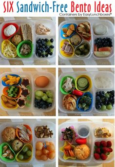 Six Sandwich Free Bento lunch ideas. Heather of Dragonfly Designs has lots of great lunch ideas HERE ► http://bit.ly/172opfd