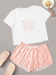 Shein Heart Print Knot Detail Pajama Set - Pajama Sets - Ideas of Pajama Sets Cute Pajama Sets, Cute Pjs, Cute Pajamas, Pajamas Women, Girls Pyjamas, Girls Fashion Clothes, Teen Fashion Outfits, Outfits For Teens, Gothic Fashion