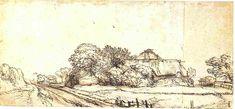 Rembrandt Drawings | Rembrandt, Cottage on the Diemerdijk, looking east. Oxford, Ashmolean ...