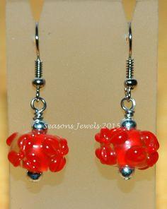 Red Flower Lampwork Earrings by SeasonsJewels on Etsy