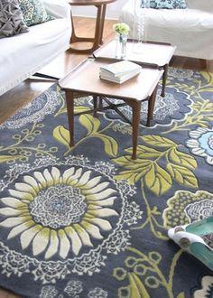 Amy Butler rug - master bedroom - grays, blues, mustard