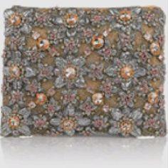 Crystal embellished silk cluch