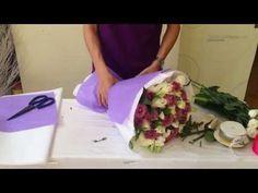 Cách vào giấy bó hoa theo kiểu Hàn Quốc - Dienhoa24gio.com - YouTube