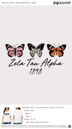 Zeta Tau Alpha Recruitment Shirt | Sorority Recruitment Shirt | Greek Recruitment Shirt #zetataualpha #zeta #zta #Recruitment #Shirt #butterfly Sorority Recruitment Shirts, Recruitment Themes, Sorority And Fraternity, Sorority Canvas, Sorority Paddles, Sorority Crafts, Big Little Paddles, Sorority Big Little, Zeta Tau Alpha