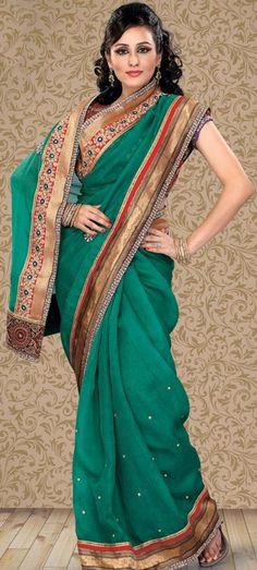 $88.6 Green Embroidery Banarasi Silk Saree 22738