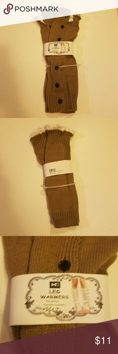 Leg warmers New Tan/ Taupe Brown One size fits all Creme ruffles Accessories Hosiery & Socks