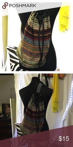 Boho style bucket bag Canvas and leather bucket shoulder bag Bags Backpacks