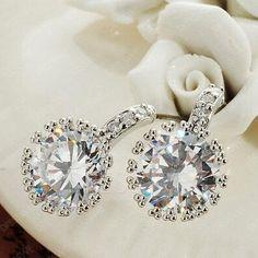 #DressWe - #DressWe Luxurious Shining Rhinestone Decorated Earrings - AdoreWe.com