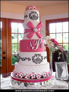White Black and Pink Wedding Cake