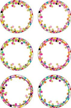 Confetti Accents Use this decorative artwork to dress up classroom walls and doors, label bins and desks, or accent bulletin boards. 30 accents per pack. Dimensions: pieces are about 6 Polka Dot Classroom, Classroom Labels, Classroom Themes, Eid Crafts, School Frame, School Labels, Teacher Created Resources, Planner Stickers, Bulletin Boards