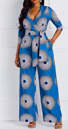 Geometric Print Pockets Notched Lapel Jumpsuits for Women. Jumpsuits for women
