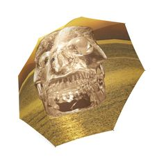 Crystal Skull Gold Foldable Umbrella