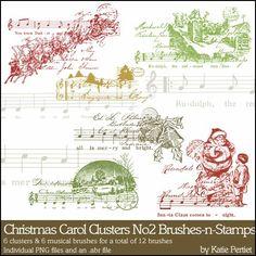 Christmas Carol Clusters No. 02 Brushes and Stamps- Katie Pertiet Brushes- DS887349- DesignerDigitals