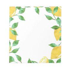 Watercolor Lemons Notepad