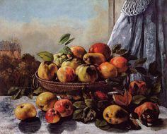 'stillleben: frucht', öl auf leinwand von Gustave Courbet (1819-1877, France)