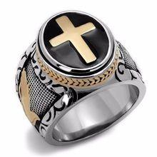 3d525bde7fa1 High Polish hombres de acero inoxidable anillos cruz patrón de moda regalo  negro… Anillos De