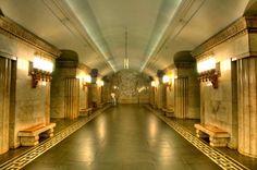 Metro Smolenskaya subway station. Moscow, Russia,