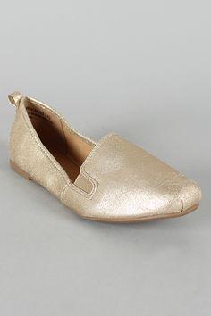 Bamboo Rosalba-01X PU Metallic Round Toe Loafer Flats