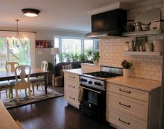 This kitchen, the wall color. The rug & decorating. But I dislike the subway tile.