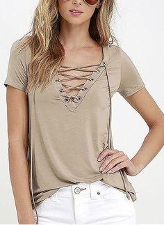06226ab8d13 Polyester Solid V-hals Kort ærme Casual T-shirts & ærmeløse T-shirts