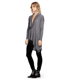 Michael Stars Long Sleeve Cowl Neck Poncho with Asym Hem 6917
