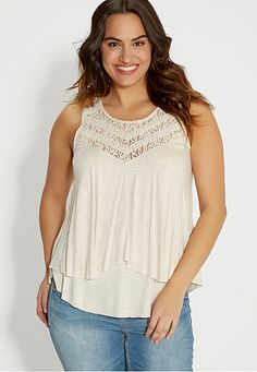 plus size layered tank with lace yoke (original price, $34) available at #Maurices