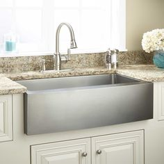 """36"""" Optimum Stainless Steel Farmhouse Sink - Curved Front matches the refrigerator curve"""