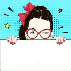 Pop Art Vintage publicidade quadrinhos garota-propaganda em gato-Sim óculos piscadelas e detém uma bandeira branca. Mulher em quadrinhos com bolha do discurso. Ilustração vetorial Vintage Advertising Posters, Vintage Advertisements, Vintage Posters, Farmasi Cosmetics, Oriflame Cosmetics, Comic Poster, Comic Art, Pop Art Vintage, Vintage Clip