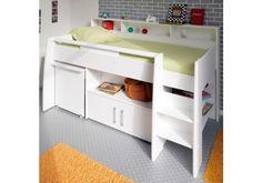 Veno White Storage Mid Sleeper Bed With Desk