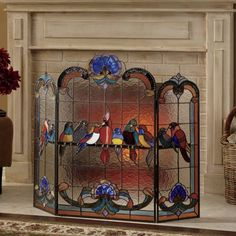 58 best stained glass fireplace screen images stained glass rh pinterest com stained glass fireplace screens sale stained glass fire screen