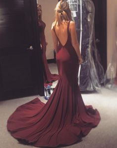 One of our lovely prom shoppers and show stoppers! | Flowing train and low back Jovani