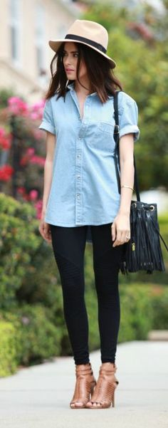 Denim Button Up N' Leggins Outfit Idea