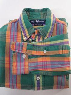 Vintage Ralph Lauren Green Plaid Cotton Long Sleeve Shirt - Small * #RalphLauren #ButtonFront