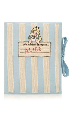 Pearl embroidered light blue alice notebook clutch by OLYMPIA LE-TAN for Preorder on Moda Operandi