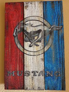 FORD MUSTANG NEW VINTAGE LOOK RUSTIC HANDPAINTED WOOD SIGN MAN CAVE HOME DECOR