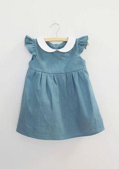 Handmade Linen Dress With Peter Pan Collar | Dabishoo on Etsy