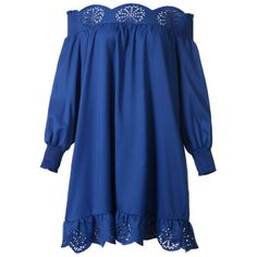 Off Shoulder Hollow Out Plain Shift Dress With Ruffled Hem (7.565 HUF) ❤ liked on Polyvore featuring dresses, off the shoulder shift dress, blue off shoulder dress, blue print dress, off the shoulder dress and shift dresses