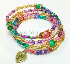 Pearberry Beaded Coil Bracelet by RandRsWristCandy on Etsy, $10.00
