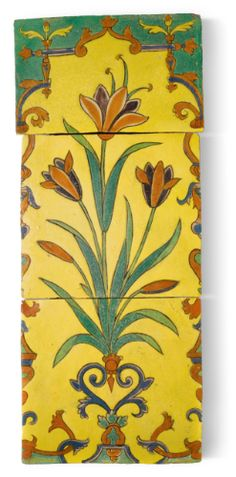 North India or Lahore  MUGHAL POTTERY TILE PANEL
